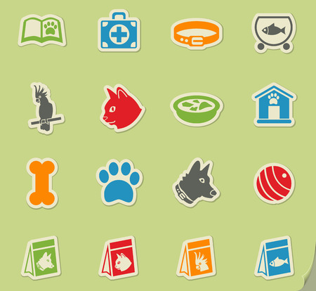 shop for animals: goods for pets web icons for user interface design Illustration