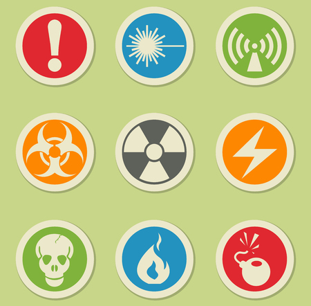 hazardous waste: Hazard simply symbols for web and user interface