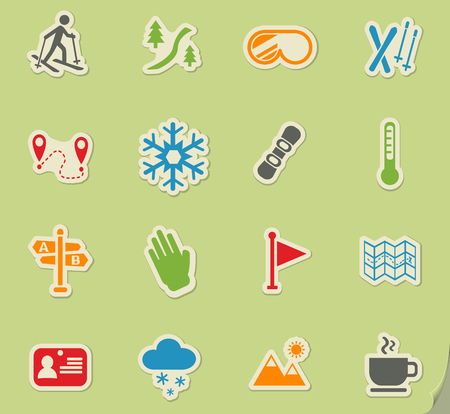 skiing web icons for user interface design