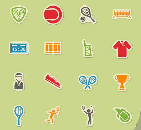 Tennis simply symbols for web and user interface Illustration