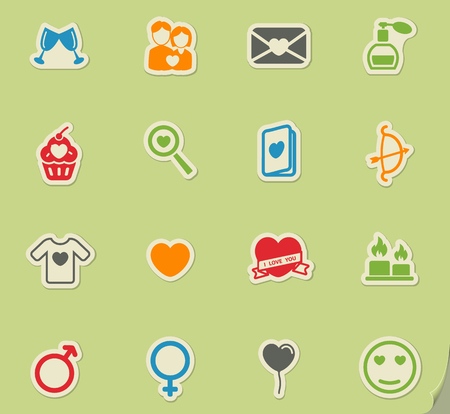 Valentines day simply symbols for web icons