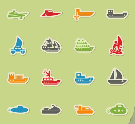 hovercraft: water transport web icons for user interface design Illustration