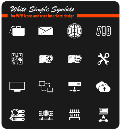 server vector icons for user interface design