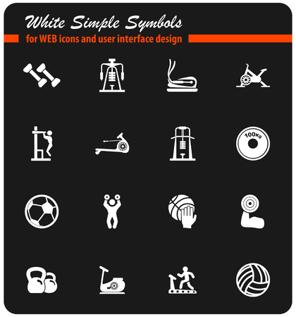 sport equipment vector icons for user interface design