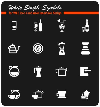 utensils for beverages vector icons for user interface design Illustration