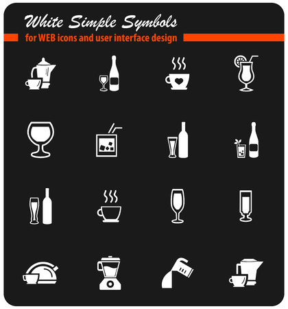 utensils for beverages vector icons for user interface design Illustration