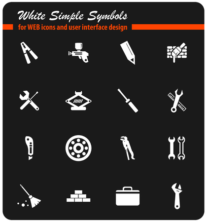 work tools vector icons for user interface design Stock Vector - 74168099