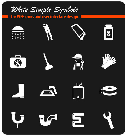 plumbing service vector icons for user interface design
