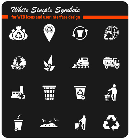 Müll-Vektor-Icons für Benutzeroberfläche Design Standard-Bild - 74168160