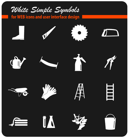 garden tools vector icons for user interface design Illustration