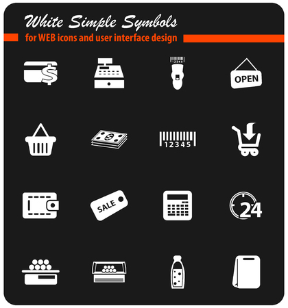 grocery store vector icons for user interface design