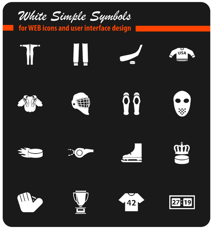hockey vector icons for user interface design Illustration