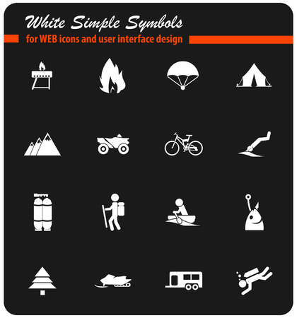 active recreation vector icons for user interface design
