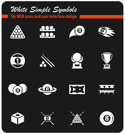 billiards vector icons for user interface design