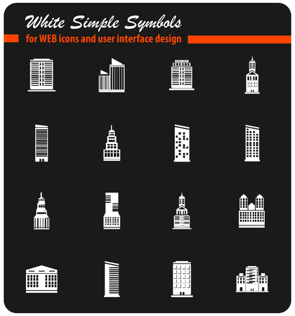 buildings vector icons for user interface design Illustration
