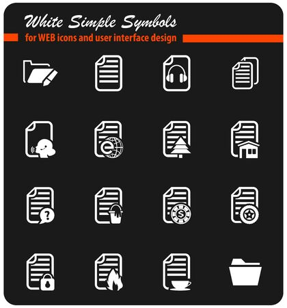 documents vector icons for user interface design Illustration