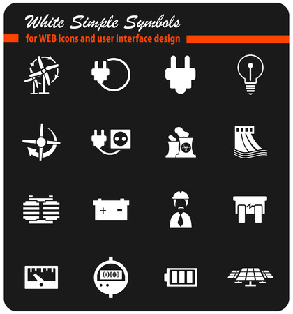 electricity vector icons for user interface design