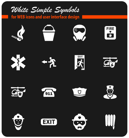emergency vector icons for user interface design
