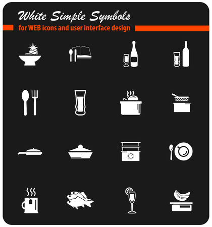 double boiler: food and kitchen vector icons for user interface design Illustration