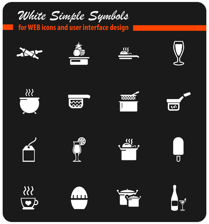 gas stove: food and kitchen vector icons for user interface design Illustration