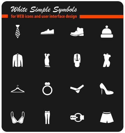 clothes vector icons for user interface design Illusztráció