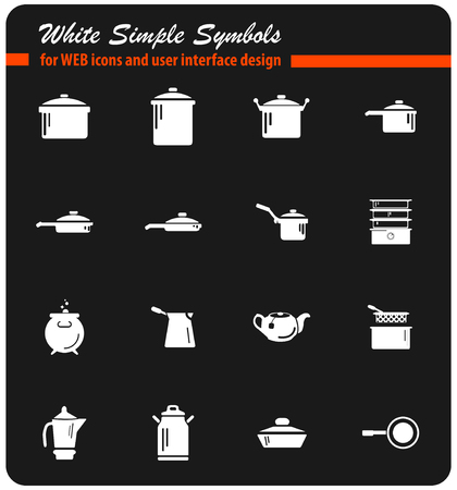 dishes vector icons for user interface design Illustration