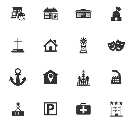 Infrastuctuur van de stad icon set voor websites en gebruikersinterface Stock Illustratie