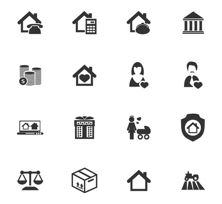 house for sale: Real estate icons set for web sites and user interface