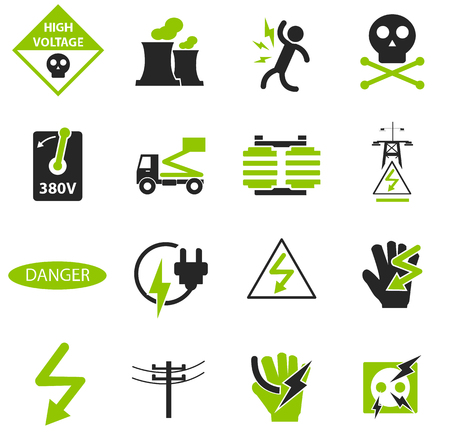 High voltage simply icons for web and user interfaces