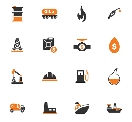 oil and gas industry: Extraction of oil icons set for web sites and user interface