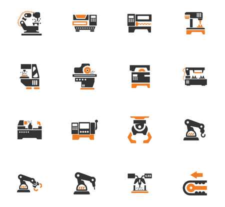 lathe: Vector machine tool icons set. Work and factory, production industrial technology, equipment construction illustration Illustration