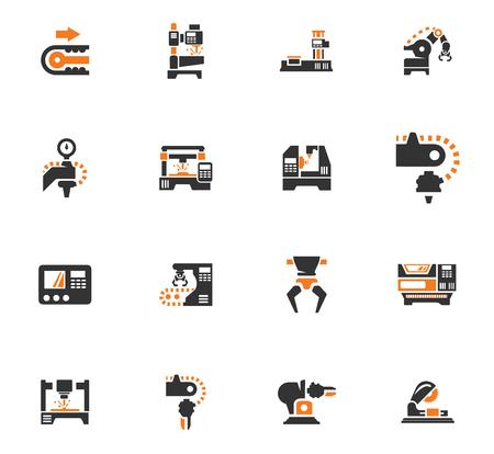 Vector iconos de la máquina herramienta conjunto. Trabajo y fábrica, la producción de tecnología industrial, ilustración de la construcción de equipos Ilustración de vector