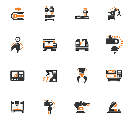 Vector machine tool icons set. Work and factory, production industrial technology, equipment construction illustration Illustration
