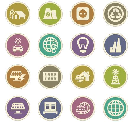 Icone alternativi di energia fissati per i siti web e l'interfaccia utente
