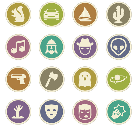 Set of movie genres black icons isolated on white. Vector illustration
