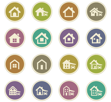 guest house: house type icon set for web sites and user interface