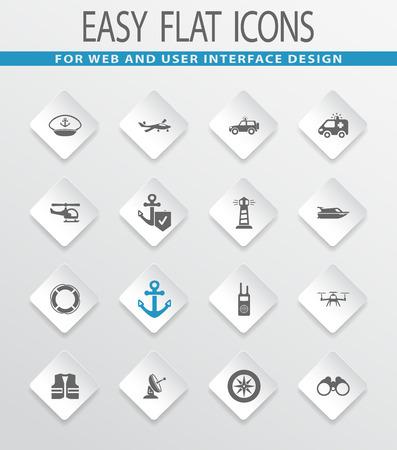 coast guard: Coast Guard easy flat web icons for user interface design Illustration