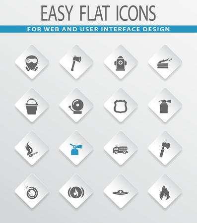 Brandweergave eenvoudige platte web iconen voor gebruikersinterface design