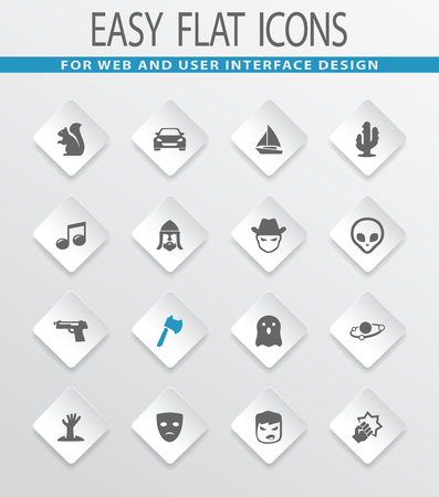 Set of movie genres easy flat web icons for user interface design