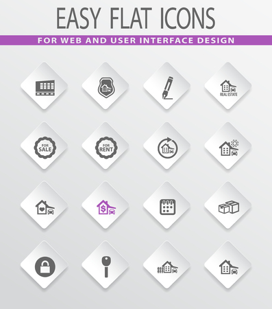 house for sale: Real estate easy flat web icons for user interface design