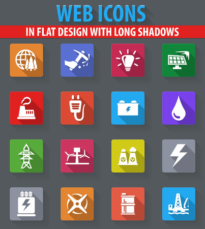 Alternative energy web icons in flat design with long shadows