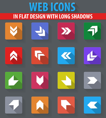 Arrows web icons in flat design with long shadows