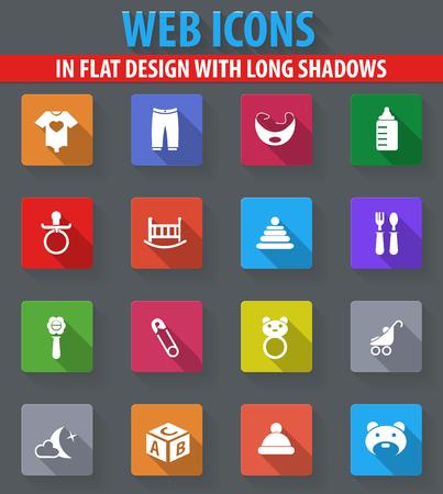 pezones: Iconos web bebé en diseño plano con largas sombras