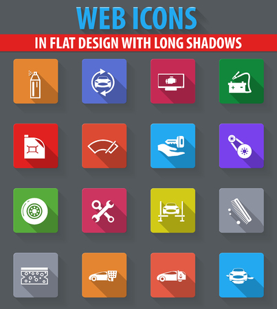 Car shop web icons in flat design with long shadows Illustration