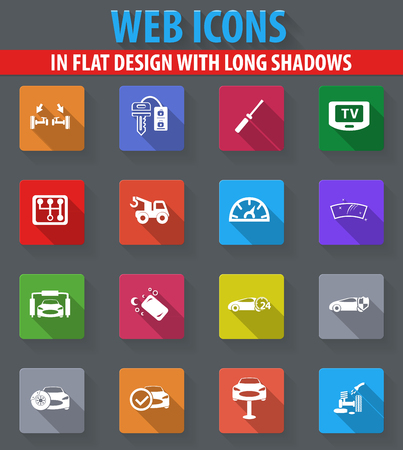 Car shop web icons in flat design with long shadows