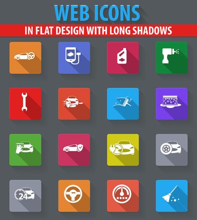 長い影とフラットな設計の車ショップ web アイコン