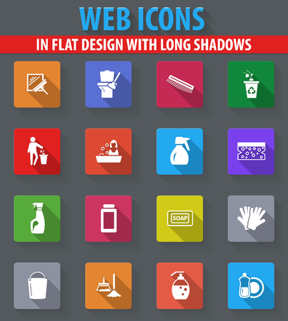 Cleaning company web icons in flat design with long shadows Illustration