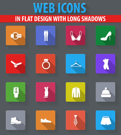 Clothes web icons in flat design with long shadows