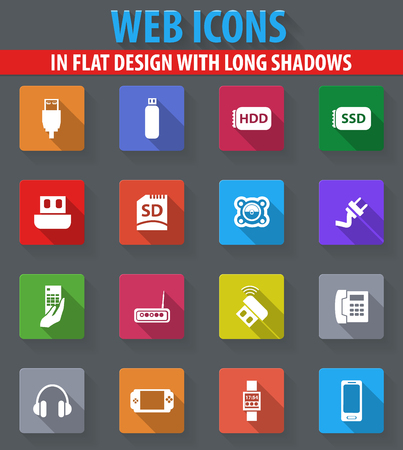 psp: Devices web icons in flat design with long shadows Illustration