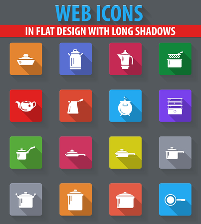 fryer: Dishes web icons in flat design with long shadows
